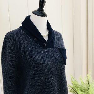 J. Crew Sweaters - J CREW Navy 100% Lambswool Shawl Collar Sweater